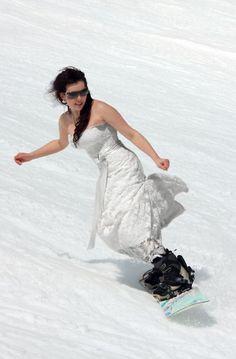 Mountain Wedding Recap ...yep I snowboarded in my dress... lots of pics!!! :  wedding mountain snow spring white winter Wedding 21