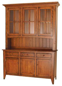 Ashville Farmhouse Cherry Wood Hutch | Amish Furniture | Solid Wood Mission Shaker Furniture | Chicago Area, Illinois