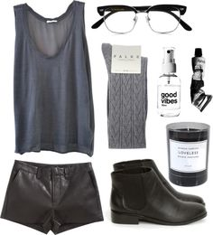 Love this entire look. Rocker nerd is my style and this perfectly depicts it. The boots are very similar to Chanel boots that are currently in season.