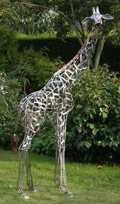 Girafe_acier_inoxydable_et_cuivre_210x115x75cm_2_ Galain
