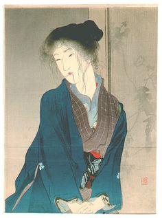 aliform: yama-bato: Bad Hair Day (Kuchi-e)by Kiyokata Kaburagi 1878-1973
