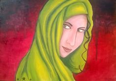 Zenobia, oil on A2 panel, by Amber O'Hara. £100.  Oil, oil painting, fine art, contemporary painting, contemporary art, portrait, portraiture, syria, headscarf, hijab, refugee