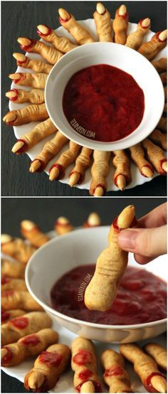 These whole wheat witch fingers use jam in place of food coloring! Not only are they healthier with whole wheat flour, but they taste great! All-purpose flour can be subbed. Perfect for Halloween!