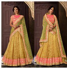 Indian Dresses, Indian Outfits, Indian Clothes, Lengha Choli, Sari, Bridle Dress, Mustard Wedding, Party Wear, Bridal Sarees