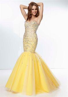 Classy Mermaid Sweetheart Long Yellow Tulle Beaded Prom Dress Corset Back