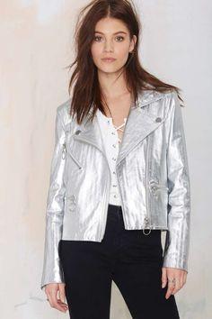 American Retro Sonja Metallic Leather Moto Jacket