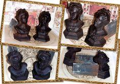 Coppia di antichi alari da camino dell  800 BUSTO DI DAMA FUSIONE IN GHISA