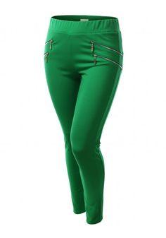 Elastic Waist Leggings With Zipper Detail #jtomsonplussize