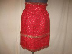 Red Holly Leaves and Berries Christmas Ruffle Half Apron with Lace Trim by SavvyFlair