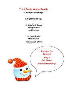 This is a great collection to review and reinforce reading sight words and math skills. There are two fun Winter themed Bingo Games-one for reading and one for multiplication. A 59 page collection of math worksheets provides a complete review that addresses 5 CCSS. There is a Winter themed collection of task cards that also provide additional math practice. There are 3 sets of cards that address multiplication and division facts.   The best part-you pay for 2 products and get 4!