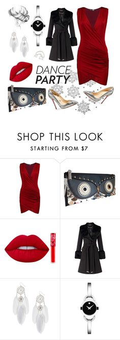 """""""New Years Eve outfit / contest"""" by krka ❤ liked on Polyvore featuring Boohoo, Christian Louboutin, Kate Spade, Lime Crime, Miss Selfridge, claire's, Movado and danceparty"""