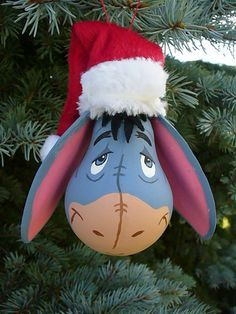 Eeyore ~ Light-bulb Christmas Ornament ~ Handmade Painted Light Bulbs, Light Bulb Art, Light Bulb Crafts, Lightbulb Ornaments, Lightbulbs, Painted Christmas Ornaments, Diy Light Bulb Ornaments, Eeyore Gifts, Disney Christmas Decorations