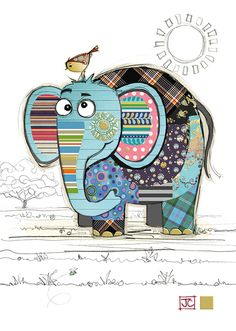 Eric Elephant bug art greeting card to drawing elephant Eric Elephant Elephant Quilt, Elephant Art, Binky Bunny, Art Carte, Bug Art, Animal Quilts, Whimsical Art, Fabric Art, Cute Drawings