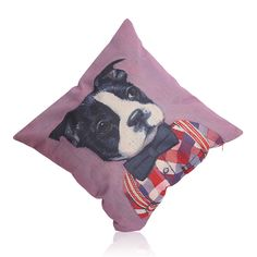 Vintage inspired Boston Terrier Pillow Sham  approx. 17x17in. cotton, linen and blended fabrics  stuffing not included