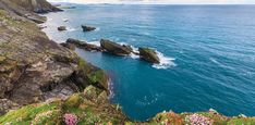 View of the sea along the cliffs at Shetland Islands in Scotland.