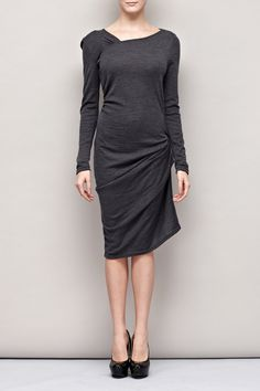Gray Asymmetric Dress with Draping by garylindesign on Etsy, $109.00