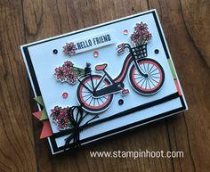 Stampin' Up! Bike Ride Photopolymer Bundle, Bike Ride Stamp Set and Build a Bike Framelits Dies, Along with #GDP089 Global Design Project 089 Color Challange, Stampin' Hoot! Stesha Bloodhart #stampinup #stampinhoot