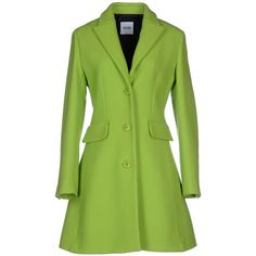 Moschino Cheapandchic Coat ($830) ❤ liked on Polyvore featuring outerwear, coats, acid green, long sleeve coat, green coat, flannel coats, moschino cheap & chic and single breasted coat
