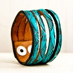 Leather Cuffs and Bracelets Turquoise Jewelry by rainwheel on Etsy, $35.00