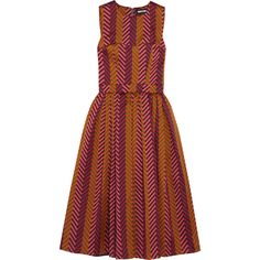 House of Holland Pleated chevron jacquard dress ($765) ❤ liked on Polyvore featuring dresses, burgundy, colorful cocktail dresses, red flare dress, chevron print dress, red chevron dress and jacquard dress