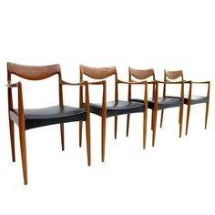 """For Sale on - Rare set of four teak """"Bambi"""" armchairs by Rolf Rastad & Adolf Relling, Norway, Very good condition. Modern Chairs, Retro Chairs, Wishbone Chair, Danish Design, Teak, Mid-century Modern, Dining Chairs, Mid Century, Interior"""