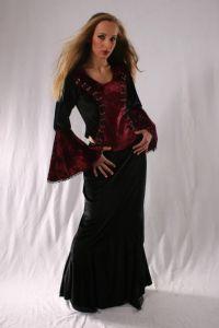 Gothic Long Velvet Skirt. Gothic Velvet Full Length Skirt ~ 3 Colours available. By Bares~81-3077~