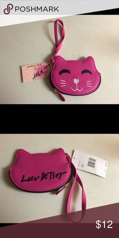 Betsey Johnson Pink Kitty Coin Purse Meow! so Cute! Fuchsia Kitty Coin Purse new with tag Betsey Johnson Bags Wallets