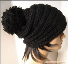 Hand knitted black beanie wool hat by happyspace on Etsy, $17.00