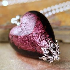 Amethyst jewelry Purple Murano glass heart by southpawstudios