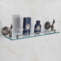 Free shipping brass Single Layer glass shelf shelves antique bathroom fittings bathroom accessories ZP-9354F