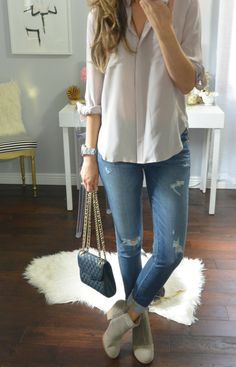 Loose button up, jeans, boots, waves - except bigger purse for all the stuff I haul around.