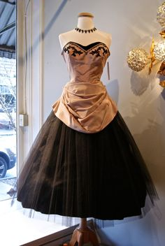 1950's Taffeta and Black Tulle Fit and Flare Strapless Party Dress