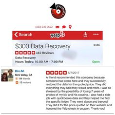 We received a new  review on yelp by Kim.M. Visit our website (link in bio) to learn more. --- #300DollarDataRecovery #LosAngeles #Yelp #HardDrive #DataRecovery #StudioCity
