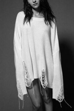 White knit distressed sweater
