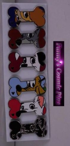"Disney WDW 2017 Hidden Mickey ""Disney Dog Bones"" Complete 6PC Pin Set"