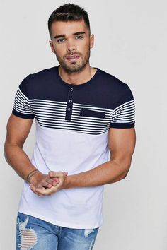 boohoo Muscle Fit Grandad Collar Panelled T-Shirt