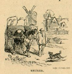 Meunier ; Artisan qui moud le grain dans un moulin à vent ou à eau pour en faire de la farine.