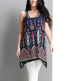 Look at this Navy Bloom Racerback Sidetail Tunic - Plus on #zulily today!