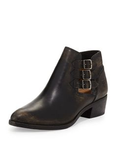 X2RFX Frye Ray Three-Buckle Ankle Boot, Black