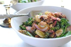 Italian Sausage, Broccolini, & Grapes -- yes, this crazy combo of ingredients works!  And it works wonderfully.  One of my favorite meals, I love the combo of sweet, crunchy, savory goodness.