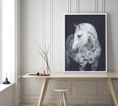 Faunascapes Flower Portraits - Andalusian Horse #faunascapes #doubleexposure #animalart #artprint #interiordesign #styling