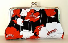"""Red & White Poppies 8"""" Framed Clutch"""