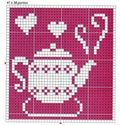 ♥ ♥ cross stitch - good idea for filet crochet block for kitchen curtains Cute Cross Stitch, Modern Cross Stitch, Cross Stitch Charts, Cross Stitch Designs, Cross Stitch Patterns, Pixel Crochet, Crochet Chart, Knitting Charts, Knitting Patterns