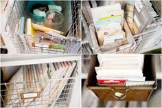 project life supplies - lots of good ideas // hello forever Marcy Penner Project Life Storage, Project Life Organization, Project Life Layouts, Diy Organisation, Organising Ideas, Craft Shelves, Family Organizer, Space Crafts, Scrapbooking