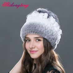 (29.52$)  Watch now - http://aipte.worlditems.win/all/product.php?id=32717159374 - Warm Natural Fur Skullies Beanies Female Small Fox Shape Thick Hat Winter Hats Paisley Black White Striped Caps Tampas TM-10