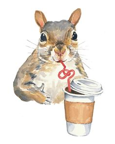 5x7 Watercolor PRINT - Squirrel Watercolour, Squirrel Painting, Coffee Squirrel, Art Print via Etsy