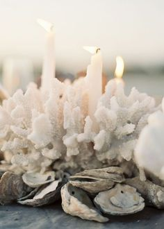 beach wedding | coral centerpieces | via: perfect palette