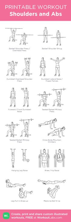 Shoulders and Abs: my visual workout created at WorkoutLabs.com • Click through to customize and download as a FREE PDF! #customworkout