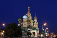 ST. BASIL'S CATHEDRAL (MOSCOW, RUSSIA):  Also called the Church of the Intercession, it was commissioned by Ivan the Terrible to celebrate his conquest of the Tatar city of Kazan in 1552. The 107-feet-tall (32.6 meters) central chapel is surrounded by eight tower-like chapels linked by an elevated gallery. It was closed after the Bolshevik Revolution and later turned into a museum in 1929.