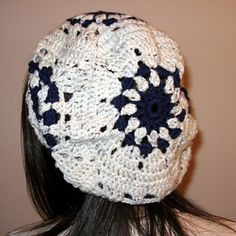 Granny Square (easy crochet beret)  by Lisa Gentry   from Leisure Arts #75358, Celebrity Slouchy Beanies for the Family
